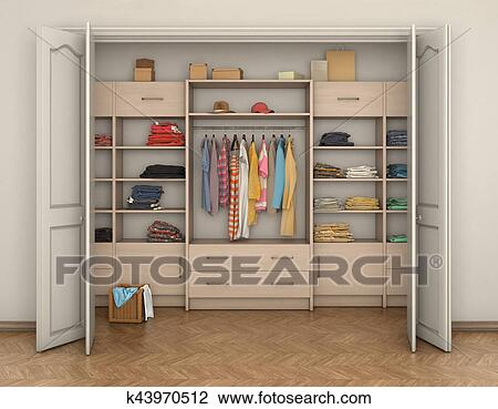 size 40 69841 518d0 Empty room interior and big closet with clothes; 3d illustration Drawing