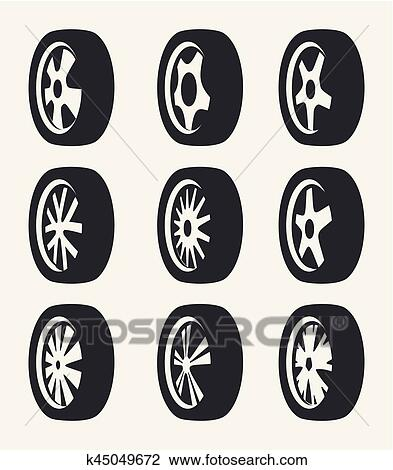 Clipart Of Isolated Black And White Color Alloy Wheels Logo