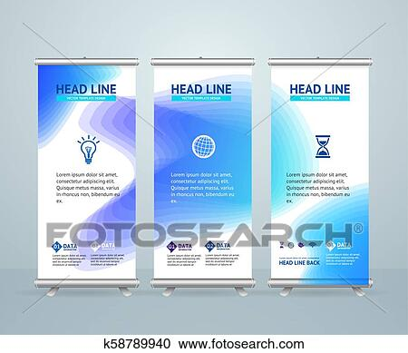 Roll Up Banner Stand Design Template Vector Clipart