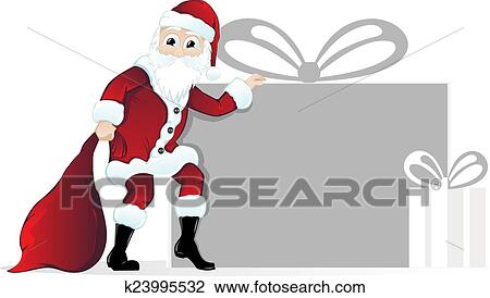 Christmas Gift Clipart.Santa Claus With Christmas Gifts Clipart