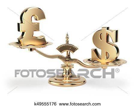 Stock Illustration Of Scale With Symbols Of Currencies Uk Pound And