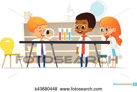 Clip Art of School children in lab clothing and safety ...