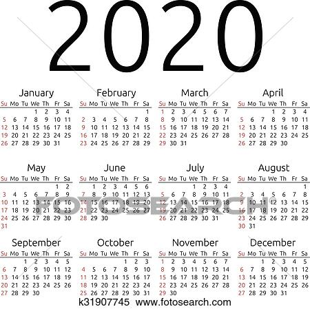 Anno Calendario 2020.Vettore Calendario 2020 Domenica Clipart