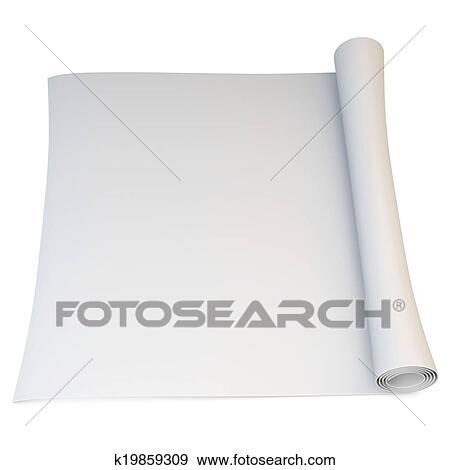 stock illustration of 3d folded blank blueprint scroll k19859309