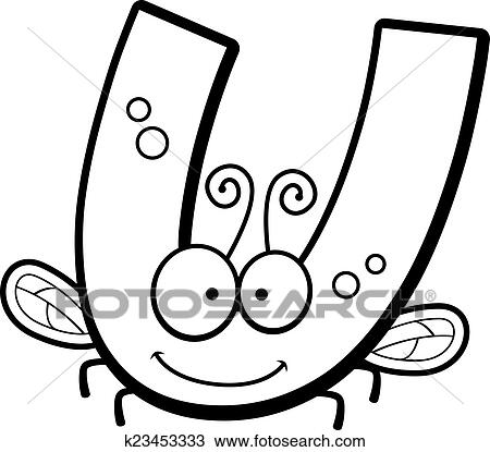 Clipart Of Cartoon Letter U Bug K23453333 Search Clip Art