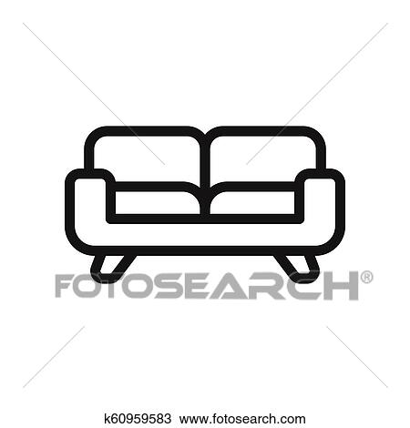 Couch Vector Icon Sofa Furniture Symbol Drawing