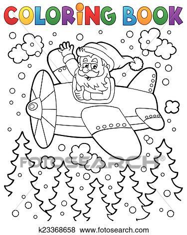 Clip Art - libro colorear, santa claus, en, avión k23368658 - Buscar ...
