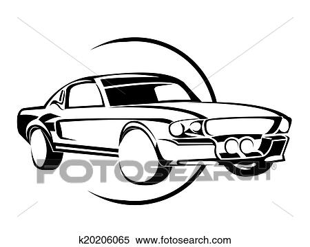 Clipart Of Old Muscle Car K20206065 Search Clip Art Illustration