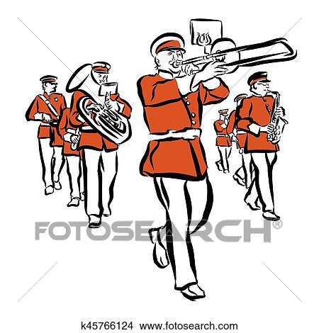 clipart of red colored marching band illustration k45766124 search rh fotosearch com matching clipart marching clipart free