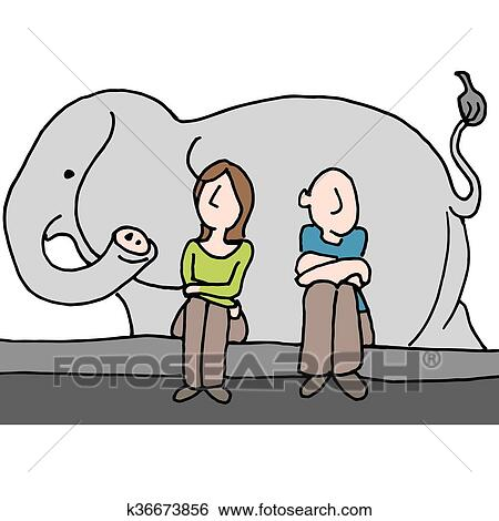 Worried couple elephant in the room Clip Art   k36673856 ...