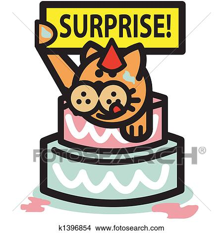 Birthday Cake And Cat Wearing A Hat Holding Surprise Sign Perfect For Party Or Graduation