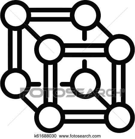 Chemical cube icon, outline style Clipart | k61688030