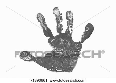 Childrens Hand Print In Black And White