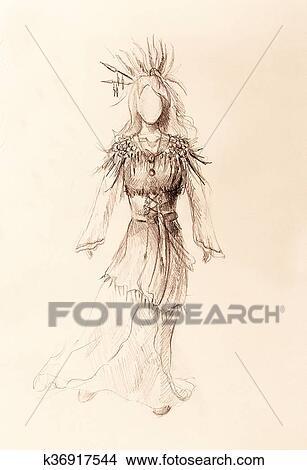 Dibujos Dibujo A Lápiz En Papel Indio Mujer Y Plumas Y