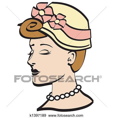clip art of easter bonnet 1950s woman clip art k1397189 search rh fotosearch com 1950s clip art pug 1950s clip art free