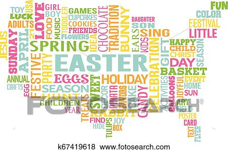 Easter In The United States Of America Word Map Clip Art - Easter-us-map
