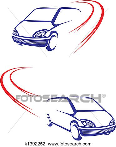 Clipart of Fast car on road k1392252 - Search Clip Art, Illustration ...
