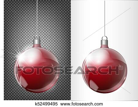 Glass Red Christmas Toy On A Transparent Background