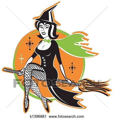 Retro Vintage Halloween Clip Art.Hot Sexy Vintage Halloween Witch Clipart