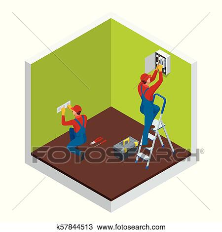 isometric master electrician at work near the plate with a  wiring diagram home automation kits