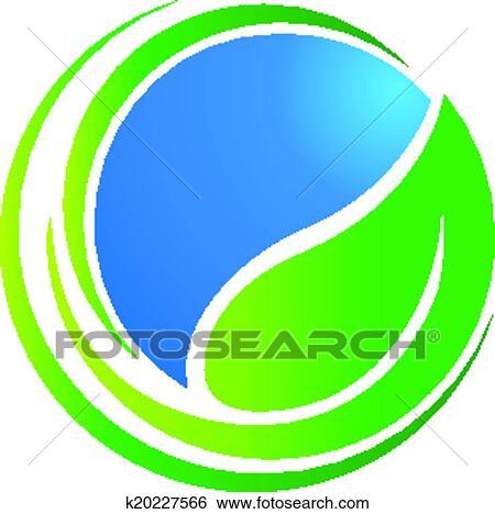 clip art of leaf around world ecology logo k20227566 search rh fotosearch com Environment Clip Art Ecosystem Clip Art
