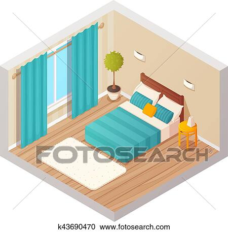 Living Room Isometric Interior Clipart K43690470 Fotosearch