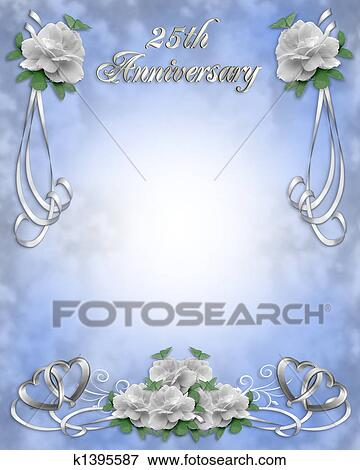 Stock illustration of wedding anniversary invitation 25 y k1395587 image and illustration composition white roses design for 25th wedding anniversary invitation background border or frame with copy space stopboris Gallery