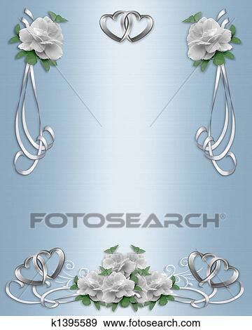 Stock Illustration Of Wedding Invitation Border White Ros K1395589