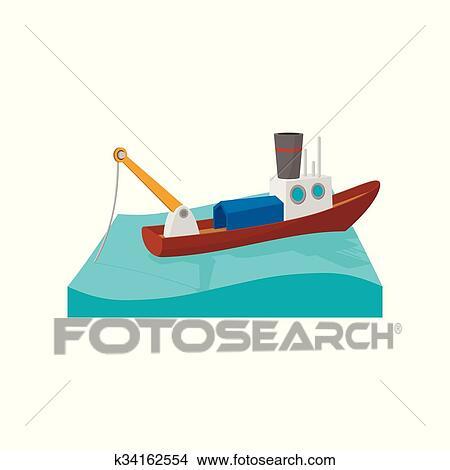 Bateau Peche Dessin Anime Icone Clipart K34162554 Fotosearch