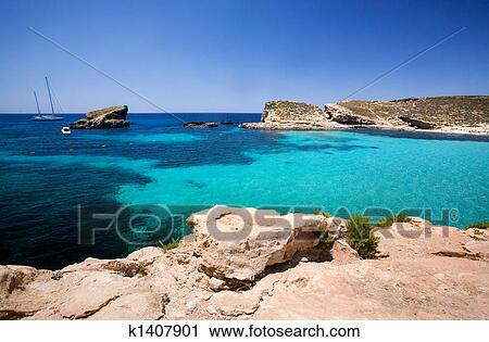 Blue Lagoon Malta Stock Image K1407901 Fotosearch