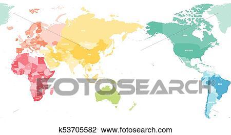 Karte Kontinente Welt.Buntes Politisch Karte Welt Geteilt In Sechs Kontinente Und Fokussiert Auf Asia Australia Und Ozeanien Region Leer Vektor Landkarte