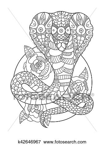 Clip Art of Cobra snake coloring book for adults vector k42646967 ...