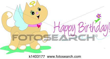 Clipart Gelukkige Verjaardag Engel Kat Vector K1403177 Zoek