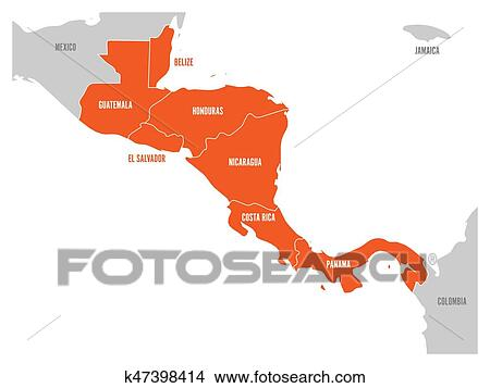 Map of Central America region with red highlighted central american states.  Country name labels. Simple flat vector illustration Clipart