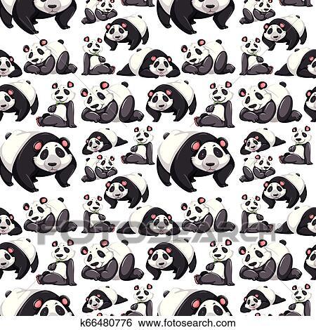 Panda seamless pattern wallpaper illustration