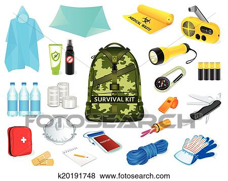 clip art of survival kit k20191748 search clipart illustration rh fotosearch com survival clipart survival guide clipart