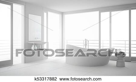 Total white minimalist bathroom with big bath tub and panoramic window,  modern interior design Drawing