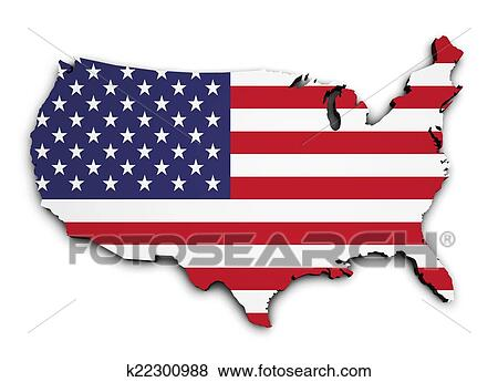 Stock Illustration of USA Flag Map 3d Shape k22300988 - Search EPS ...