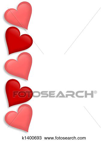 Drawing Of Valentines Day Border Hearts 3d K1400693 Search Clipart