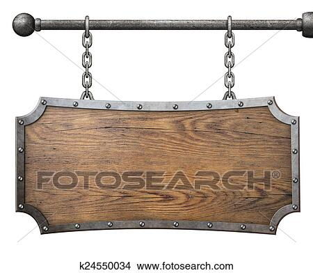Stock Photo Of Wood Sign With Metal Frame Hanging On Chain Isolated