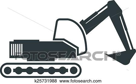 Detailed Illustration Of An Excavator Outline Eps10 Vector