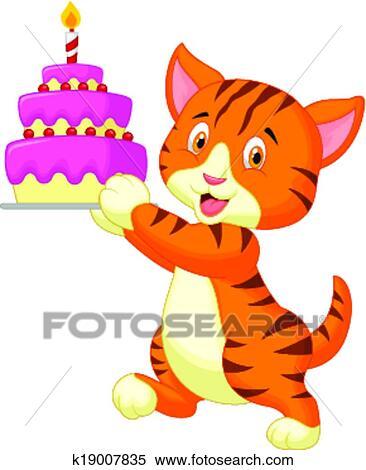 Clipart gatto cartone animato con torta compleanno for Gatto clipart