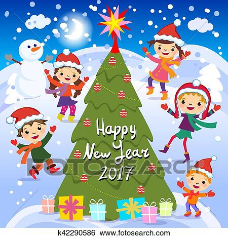 clip art happy new year 2017 winter fun cheerful kids playing in
