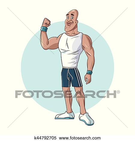 Clipart Of Healthy Man Athletic Muscular Strong Arm K44792705