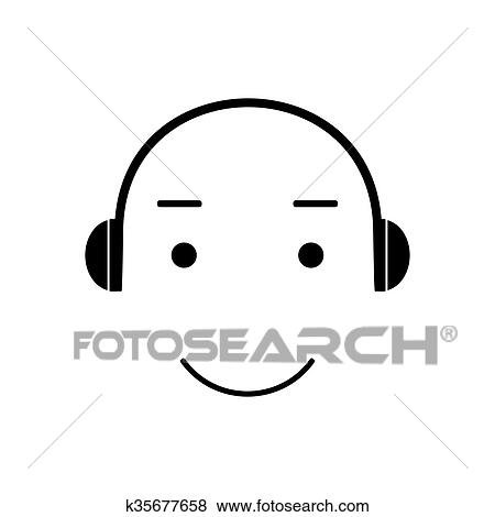 clip art of icon smiley listening to music k35677658 search rh fotosearch com listening to music clipart black and white girl listening to music clipart