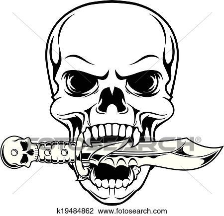 Skull Bite Dagger Clipart K19484862