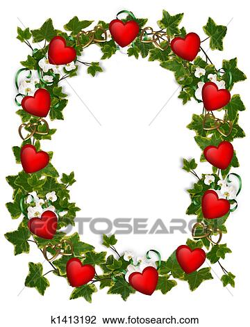 clip art of valentine border ivy wreath hearts k1413192 search