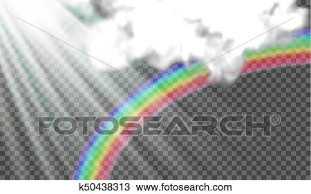 Eps10 Vector Illustration Of Sun Rays Rainbow After Rain Storm Clouds On A Transparent Background
