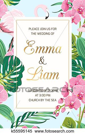 Wedding Invitation Tropical Leaves Orchid Flamingo Clipart