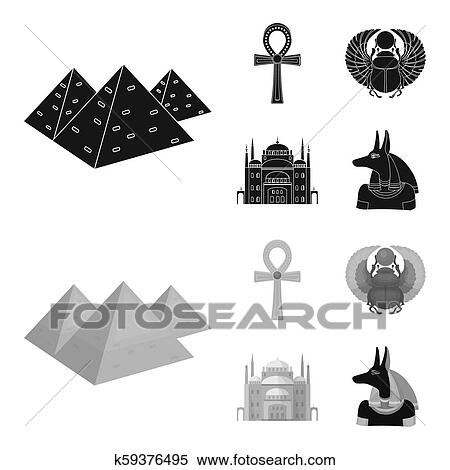 Anubis, Ankh, Cairo citadel, Egyptian beetle  Ancient Egypt set collection  icons in black, monochrom style bitmap symbol stock illustration web  Stock